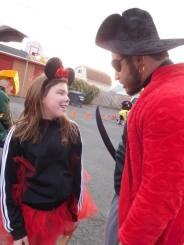 A pirate captain and Minnie Mouse