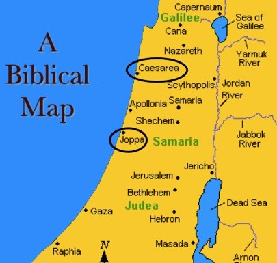 Map caesarea and joppa