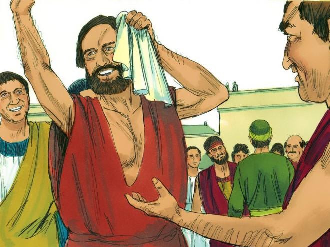 Pauls holds a handkerchief
