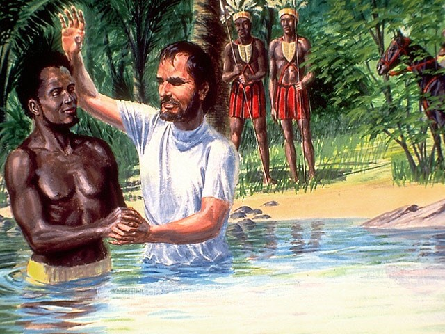 Philip baptizes the Ethiopian Eunoch